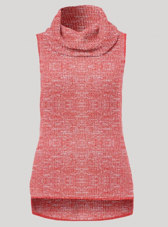 Pink Durby Knit High Neck Top