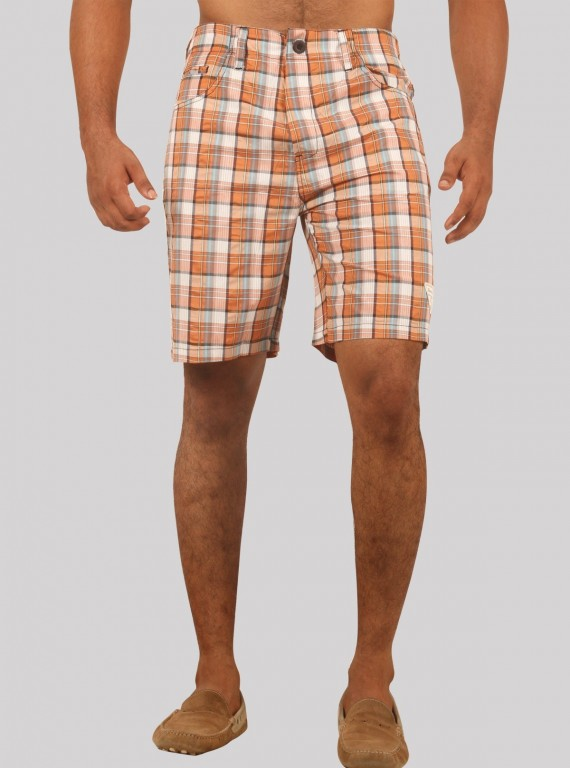 Brown broad check shorts