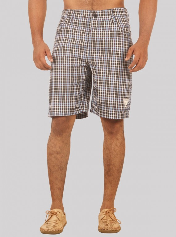 Brown Checkered Shorts