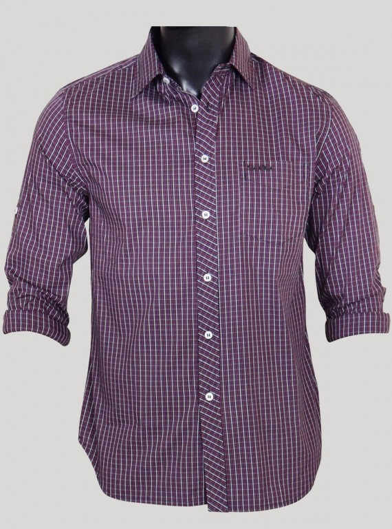 Slim Fit - Plum Long Sleeve...