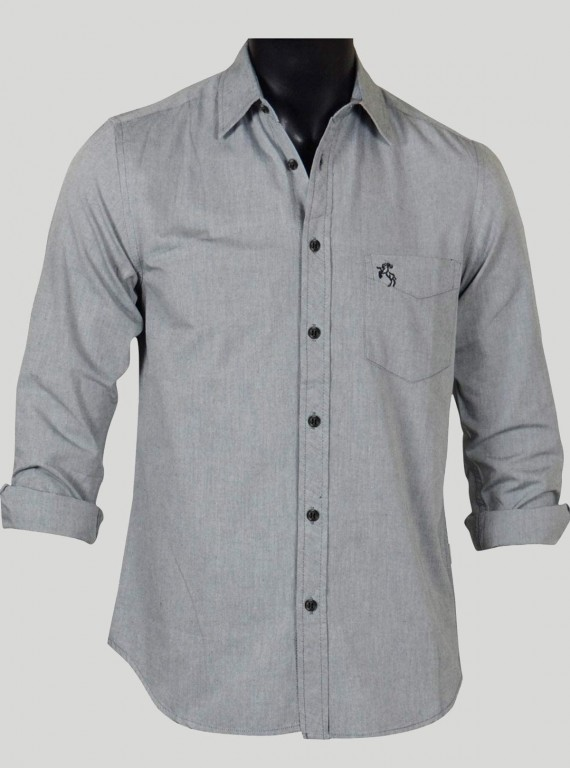 Slim Fit - Solid Grey Shirt