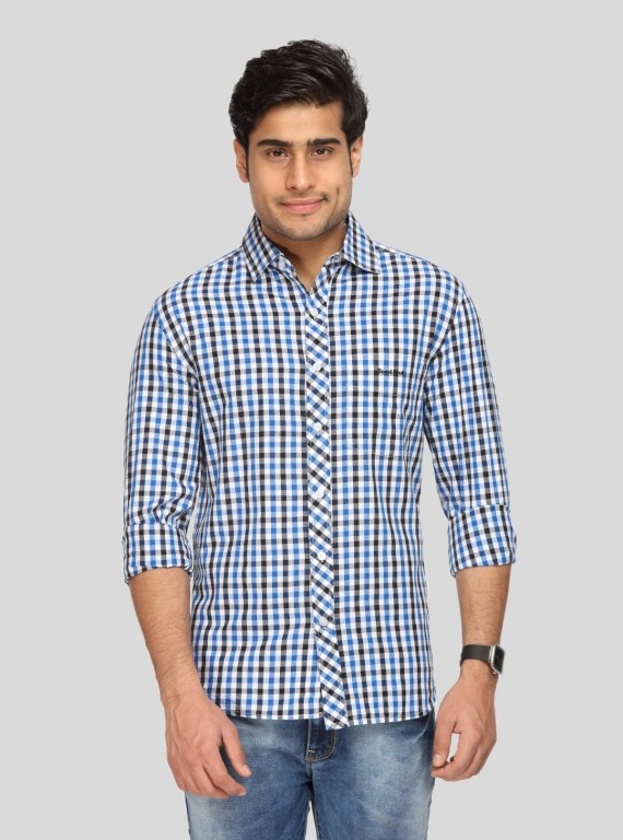 Ink Blue Chereckered Shirt