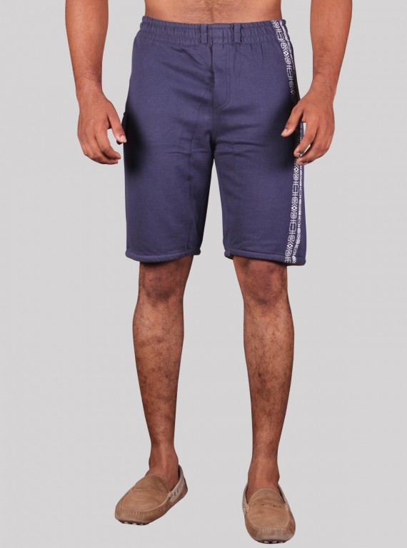 Navy Printed Fleece Shorts