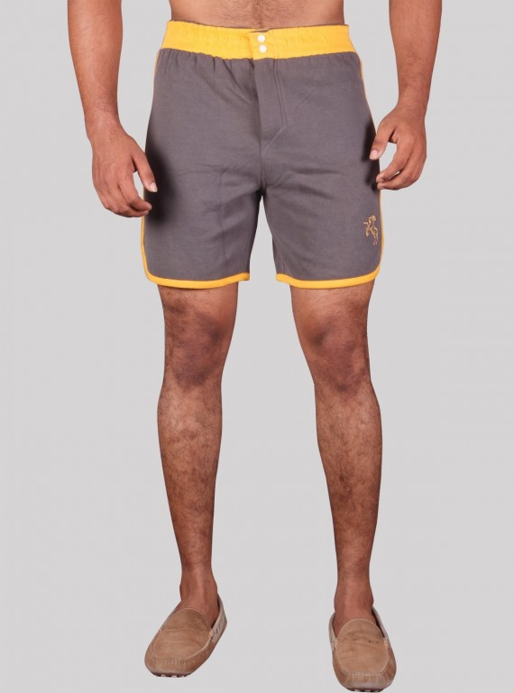 Yellow Contrast Fleece Shorts