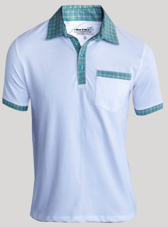 White Mint Collar Polo TShirt
