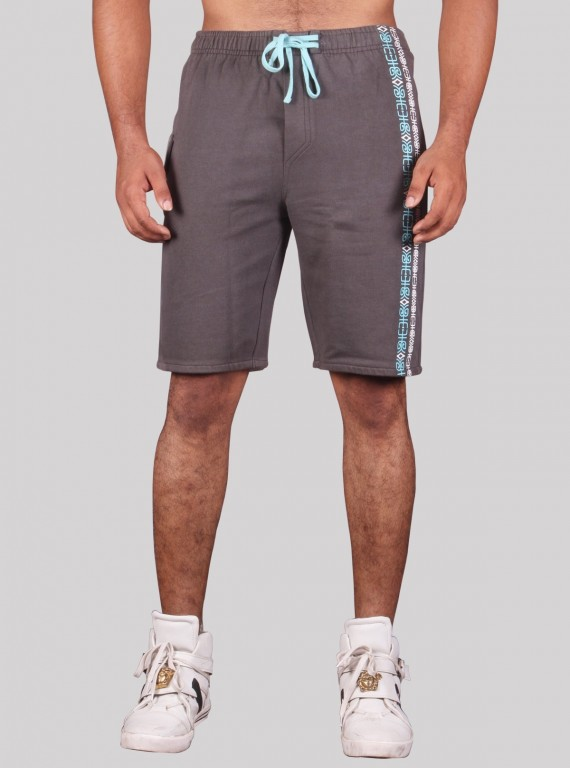 Grey Printed Fleece Shorts