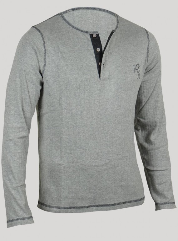 Henley Neck  TShirt - Grey...