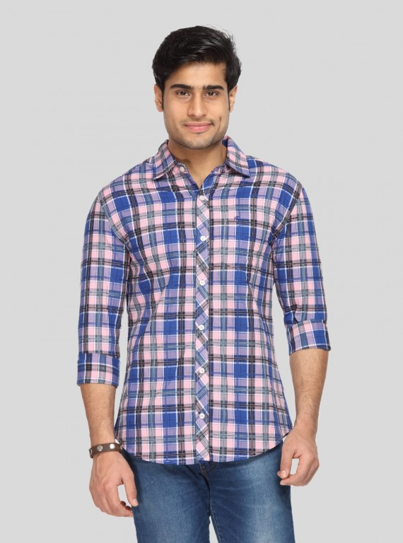 Pink Checked Slim Fit Full...