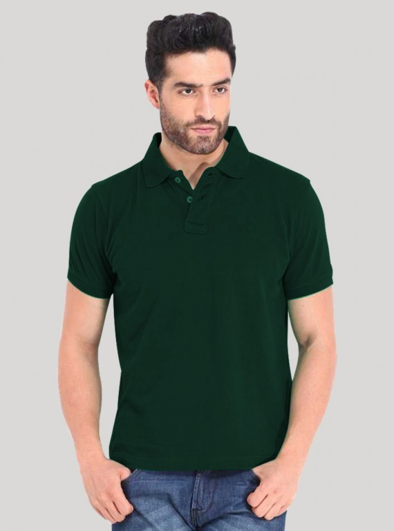 Bottle Green Pique Polo TShirt