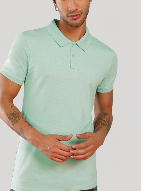 Light Blue Pique Polo TShirt