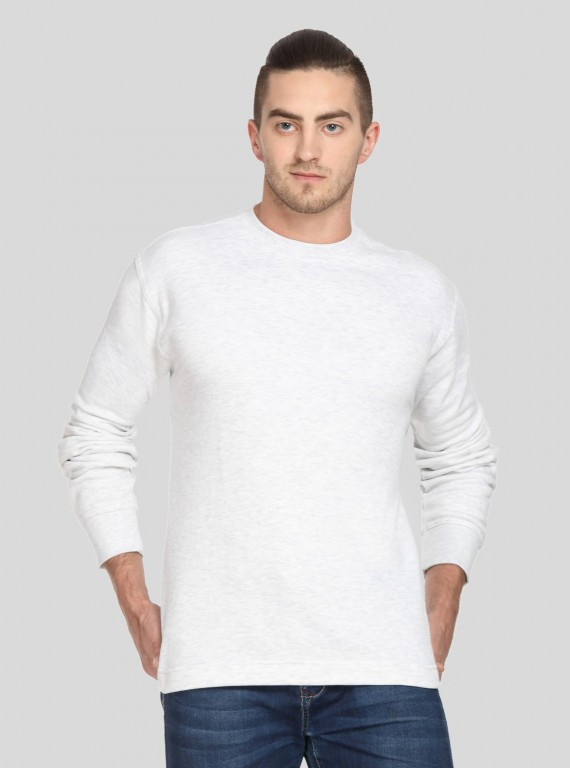 White Melange Fleece Sweat...