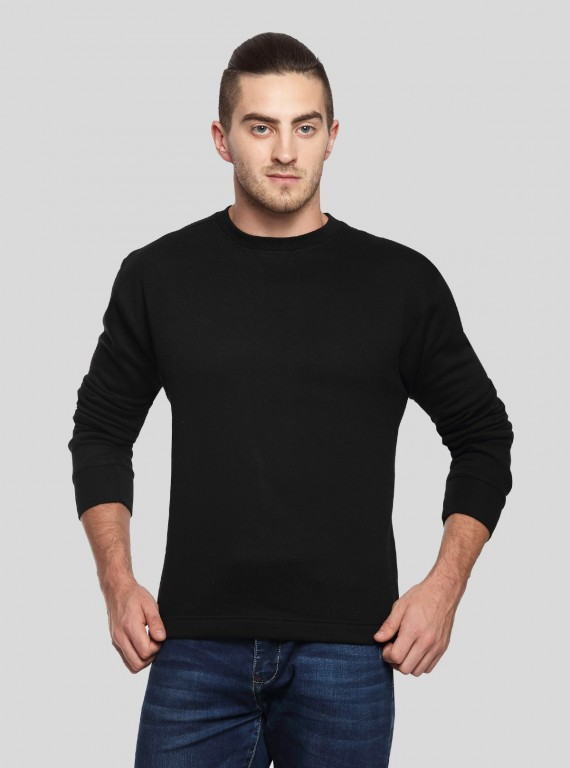 Black V Cut Fleece Sweat Shirt