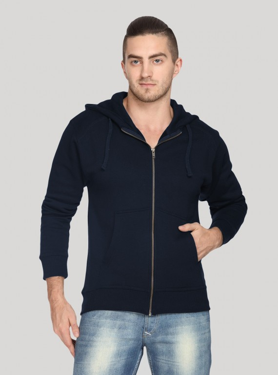 Navy Hooded Zipper Sweat Shirt