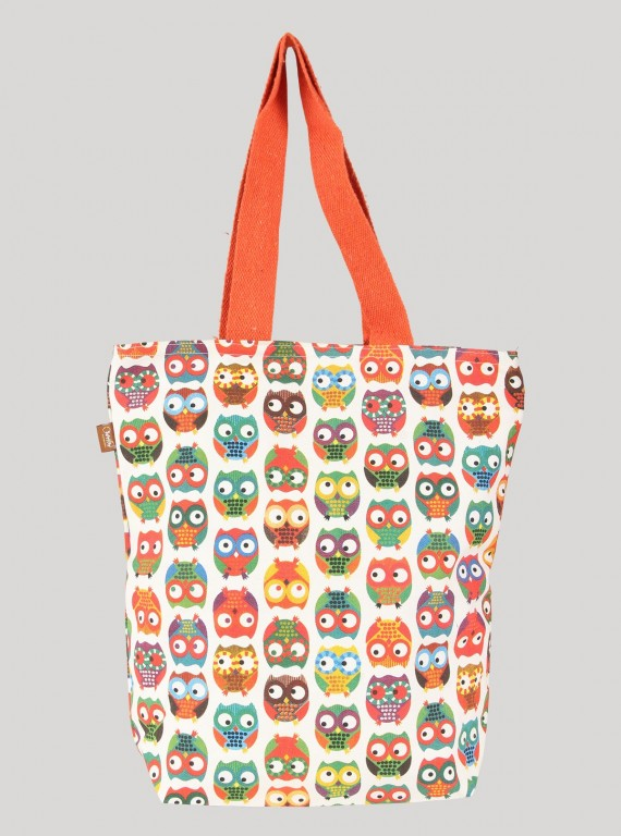 Orange Owl Printed Bag