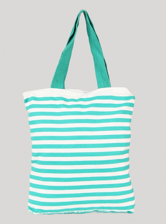 Green Stripe Print Canvas Bag