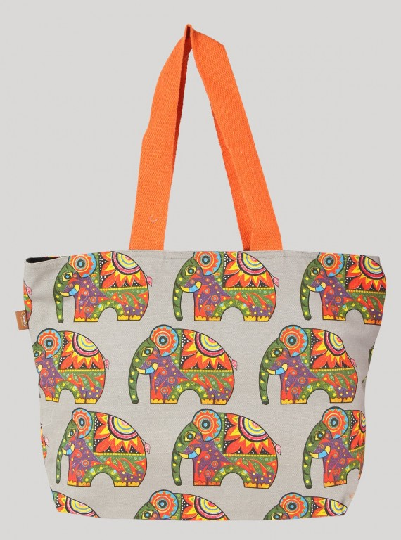 Grey Elephant Printed Canvas Bag