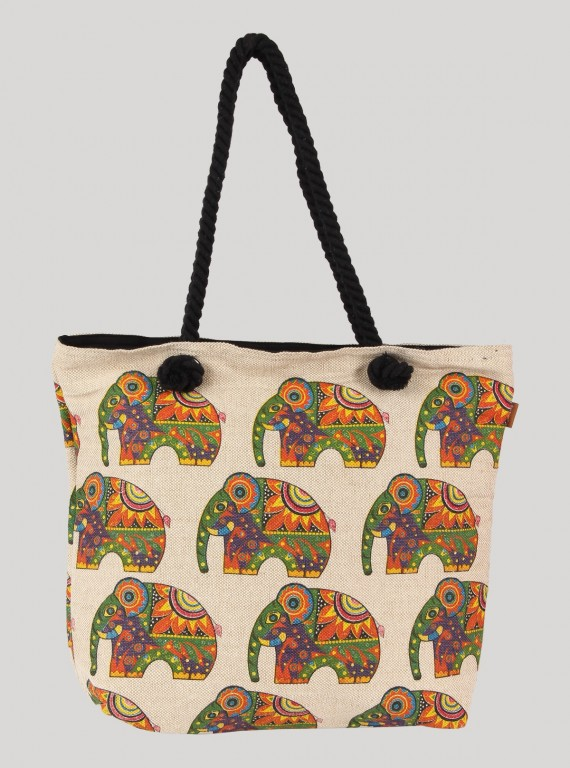 Ecru elephant Printed Canvas Bag