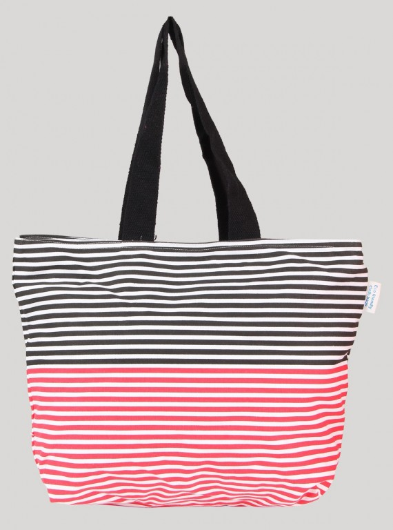 Stripe Print Canvas Bag