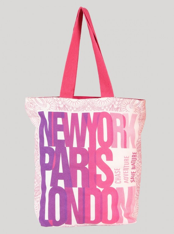 Pink Printed Canvas Bag