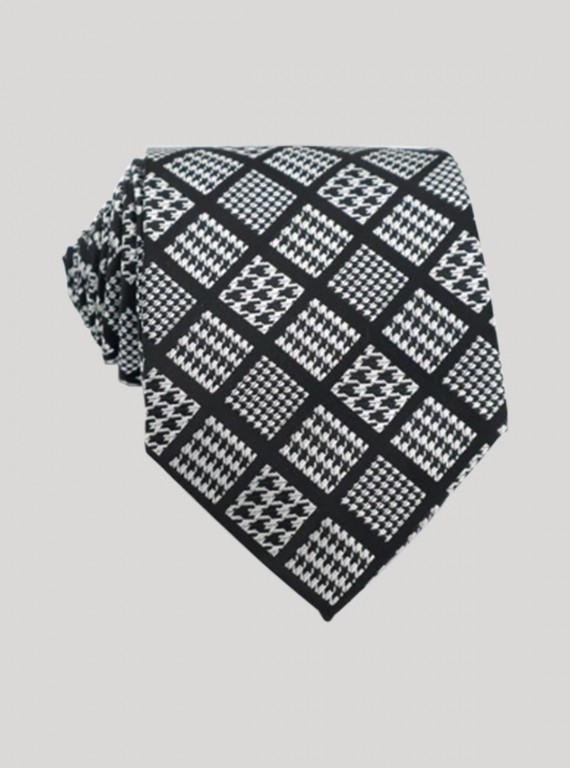 Black Check Neck Tie