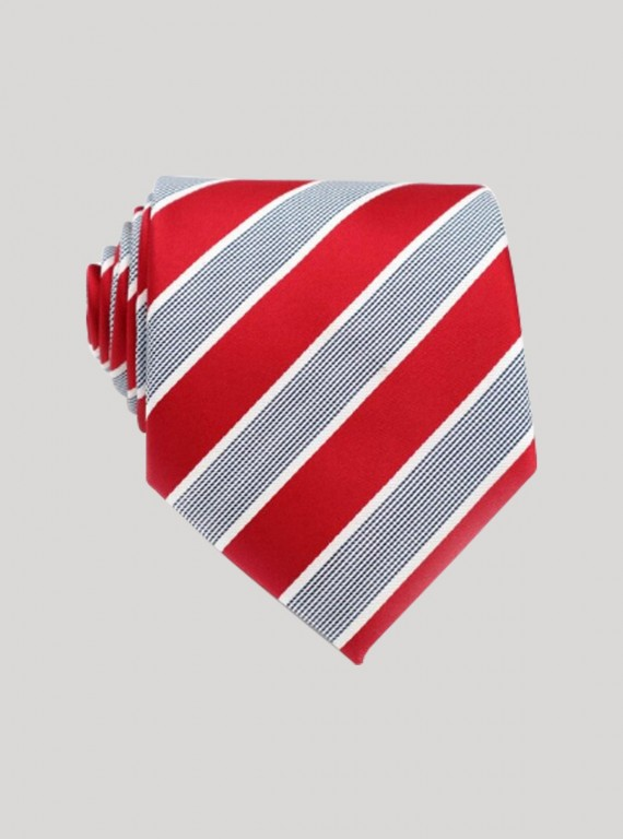 Red Cross Stripe Neck Tie