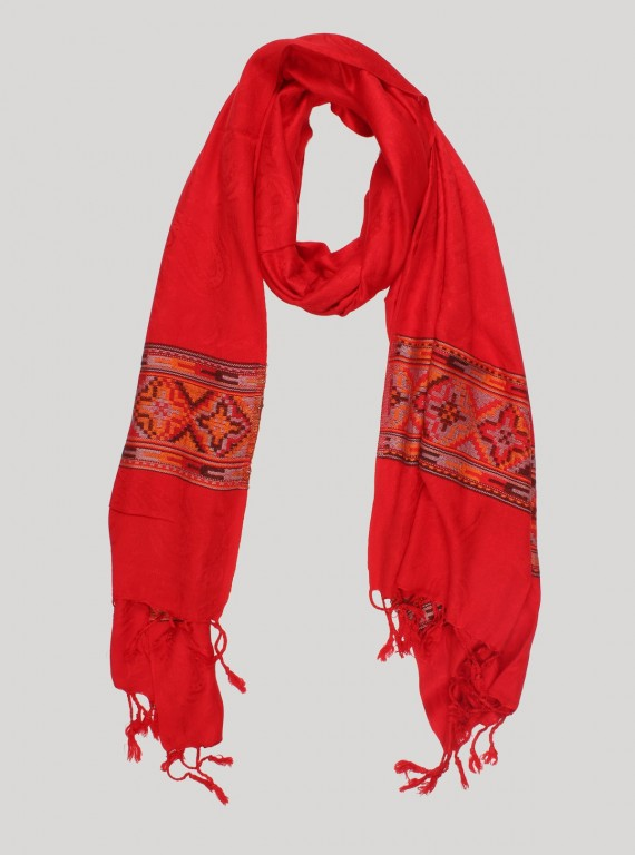Red Color Viscose Scarf
