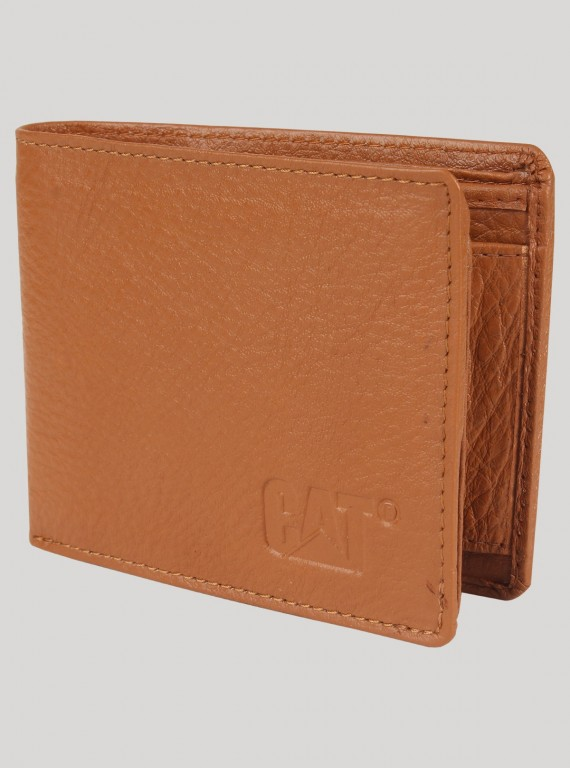 Beige Plain Leather Wallet