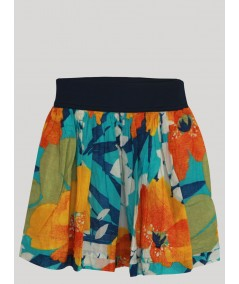 Orange Contrast Floral Short Skirt