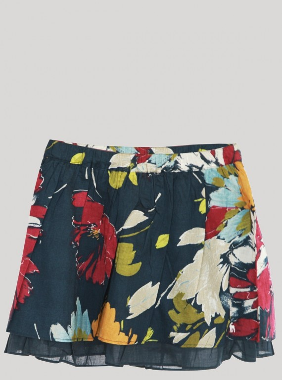 Rouge Contrast Floral Short Skirt