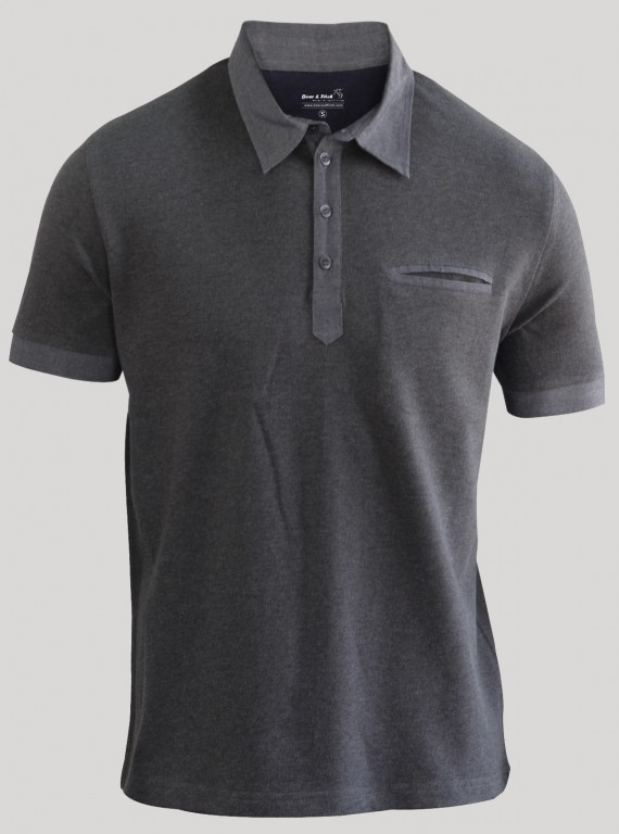 Dark Melange Button Polo TShirt